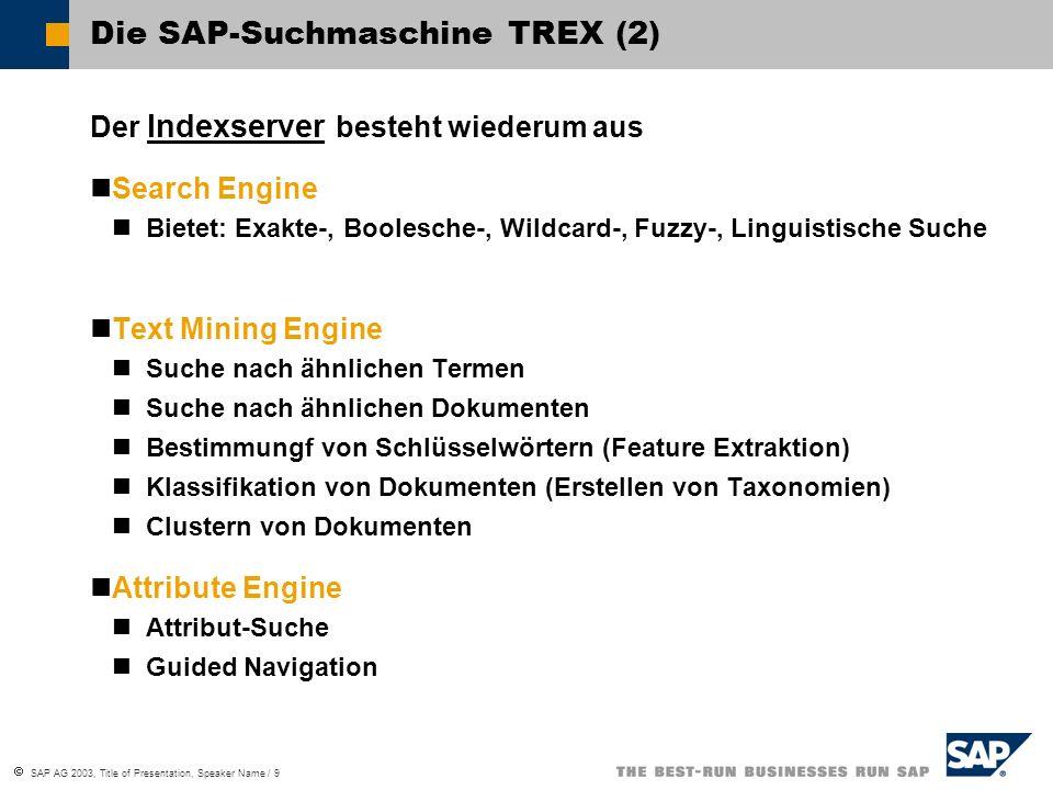  SAP AG 2003, Title of Presentation, Speaker Name / 9 Die SAP-Suchmaschine TREX (2) Der Indexserver besteht wiederum aus Search Engine Bietet: Exakte