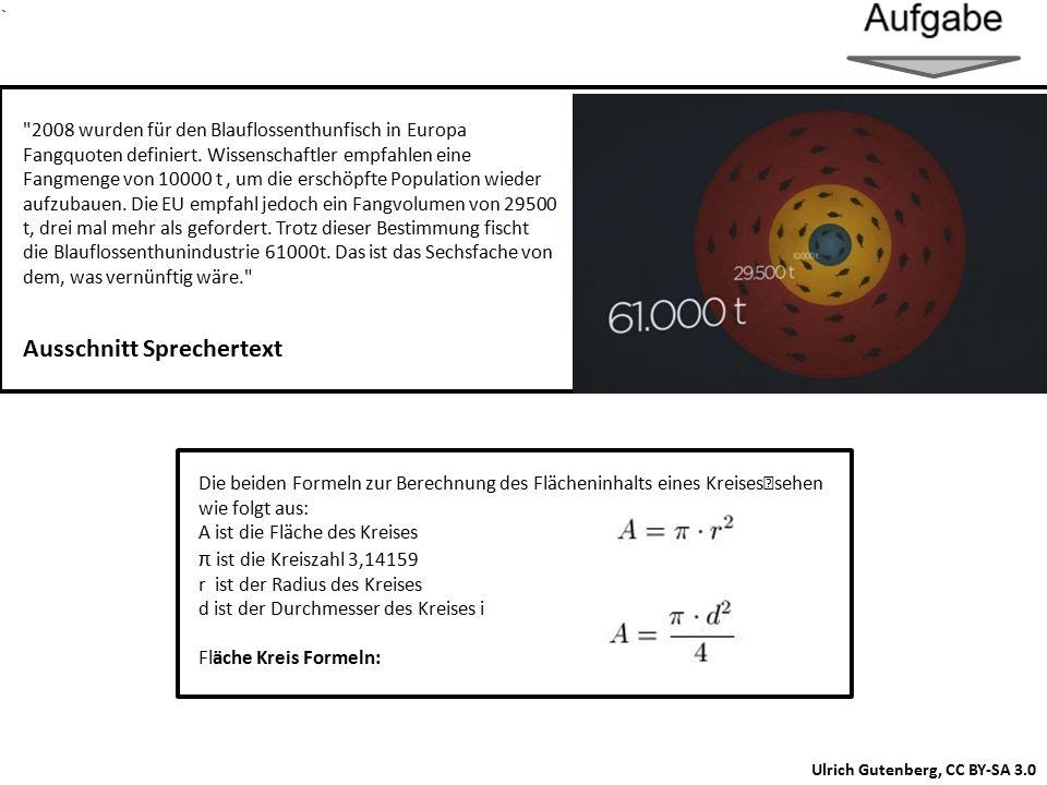 Ulrich Gutenberg, CC BY-SA 3.0 Die beiden Formeln zur Berechnung des Flächeninhalts eines Kreises sehen wie folgt aus: A ist die Fläche des Kreises π