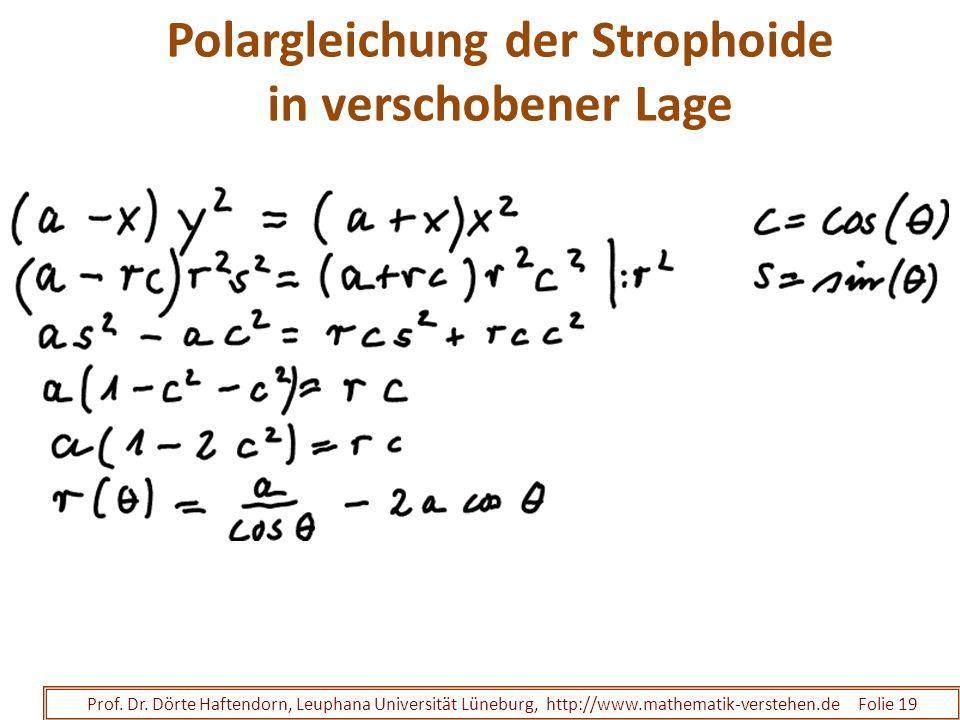 Polargleichung der Strophoide in verschobener Lage Prof. Dr. Dörte Haftendorn, Leuphana Universität Lüneburg, http://www.mathematik-verstehen.de Folie