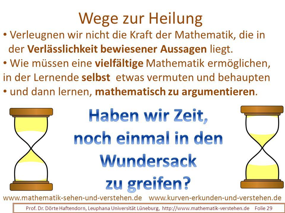 Wege zur Heilung Prof. Dr. Dörte Haftendorn, Leuphana Universität Lüneburg, http://www.mathematik-verstehen.de Folie 29 www.kurven-erkunden-und-verste