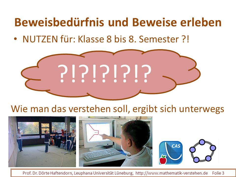 Beweisbedürfnis und Beweise erleben NUTZEN für: Klasse 8 bis 8. Semester ?! Prof. Dr. Dörte Haftendorn, Leuphana Universität Lüneburg, http://www.math