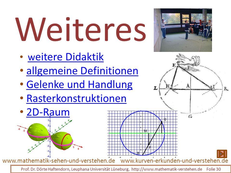Weiteres Prof. Dr. Dörte Haftendorn, Leuphana Universität Lüneburg, http://www.mathematik-verstehen.de Folie 30 www.kurven-erkunden-und-verstehen.deww