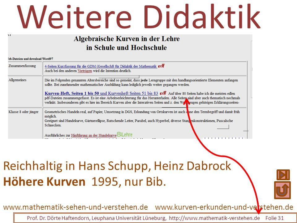 Weitere Didaktik Prof. Dr. Dörte Haftendorn, Leuphana Universität Lüneburg, http://www.mathematik-verstehen.de Folie 31 www.kurven-erkunden-und-verste
