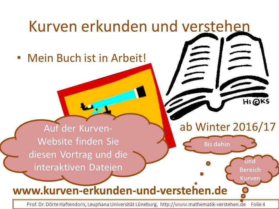 Kurven erkunden und verstehen Mein Buch ist in Arbeit! Prof. Dr. Dörte Haftendorn, Leuphana Universität Lüneburg, http://www.mathematik-verstehen.de F