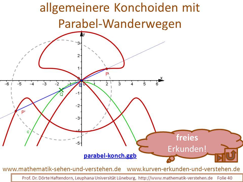allgemeinere Konchoiden mit Parabel-Wanderwegen Prof. Dr. Dörte Haftendorn, Leuphana Universität Lüneburg, http://www.mathematik-verstehen.de Folie 40