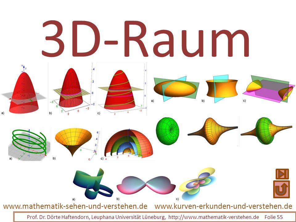 3D-Raum Prof. Dr. Dörte Haftendorn, Leuphana Universität Lüneburg, http://www.mathematik-verstehen.de Folie 55 www.kurven-erkunden-und-verstehen.dewww