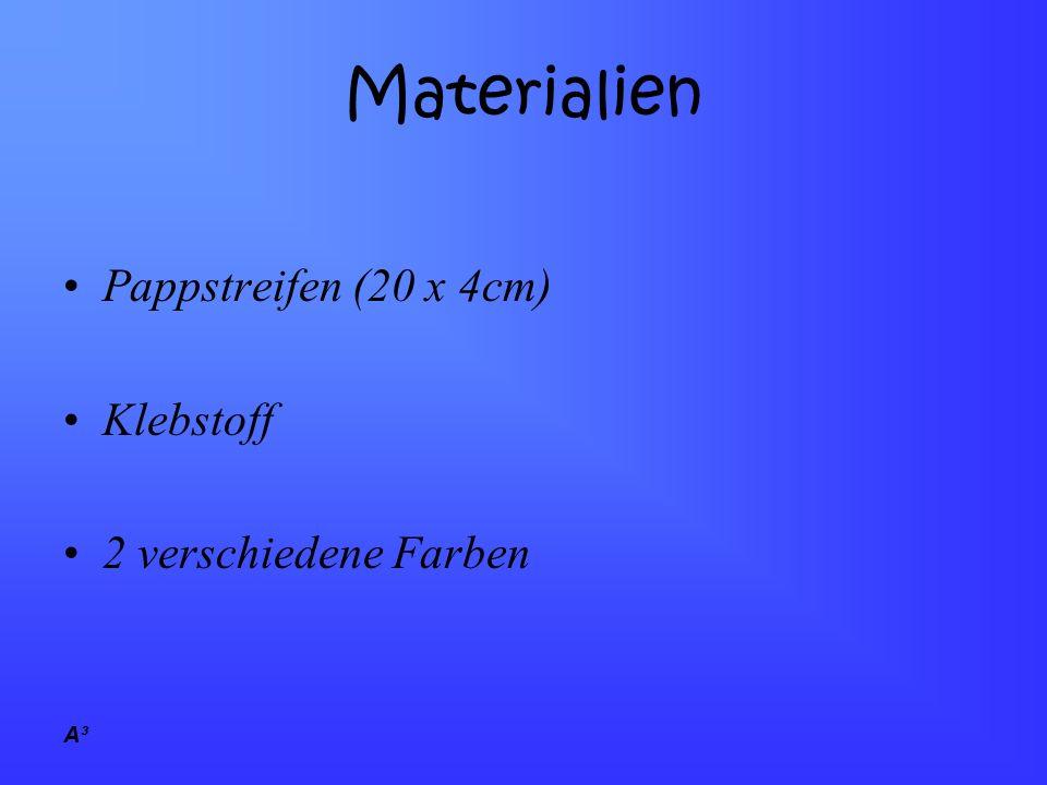 A³ Materialien Pappstreifen (20 x 4cm) Klebstoff 2 verschiedene Farben