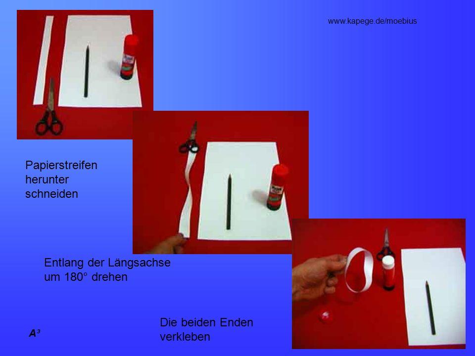 A³ Papierstreifen herunter schneiden Entlang der Längsachse um 180° drehen Die beiden Enden verkleben www.kapege.de/moebius