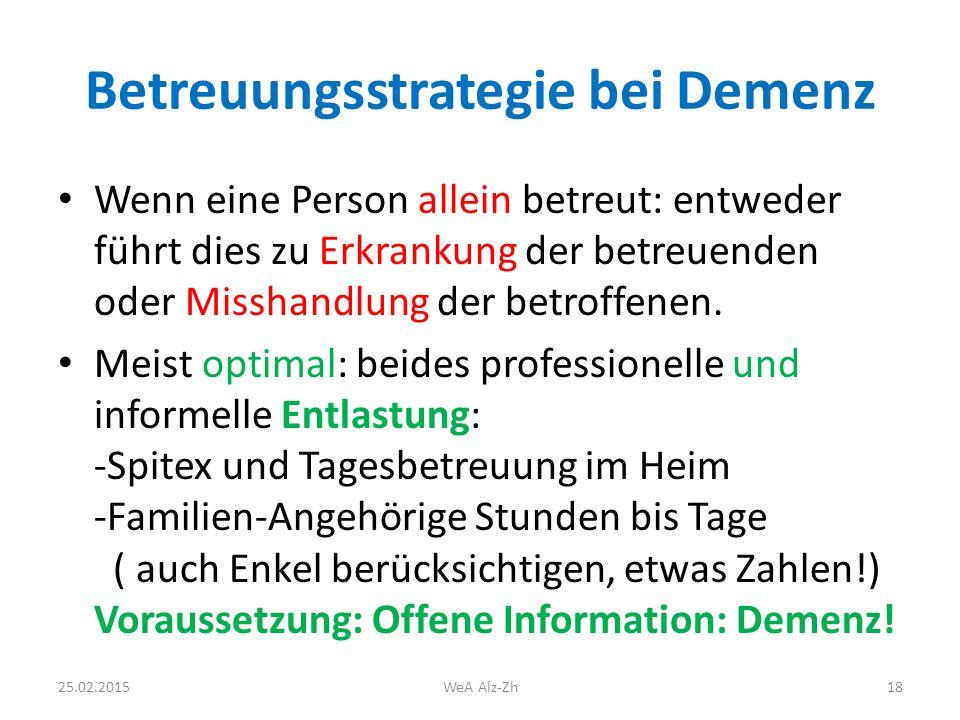 Betreuungsstrategie bei Demenz Wenn eine Person allein betreut: entweder führt dies zu Erkrankung der betreuenden oder Misshandlung der betroffenen.