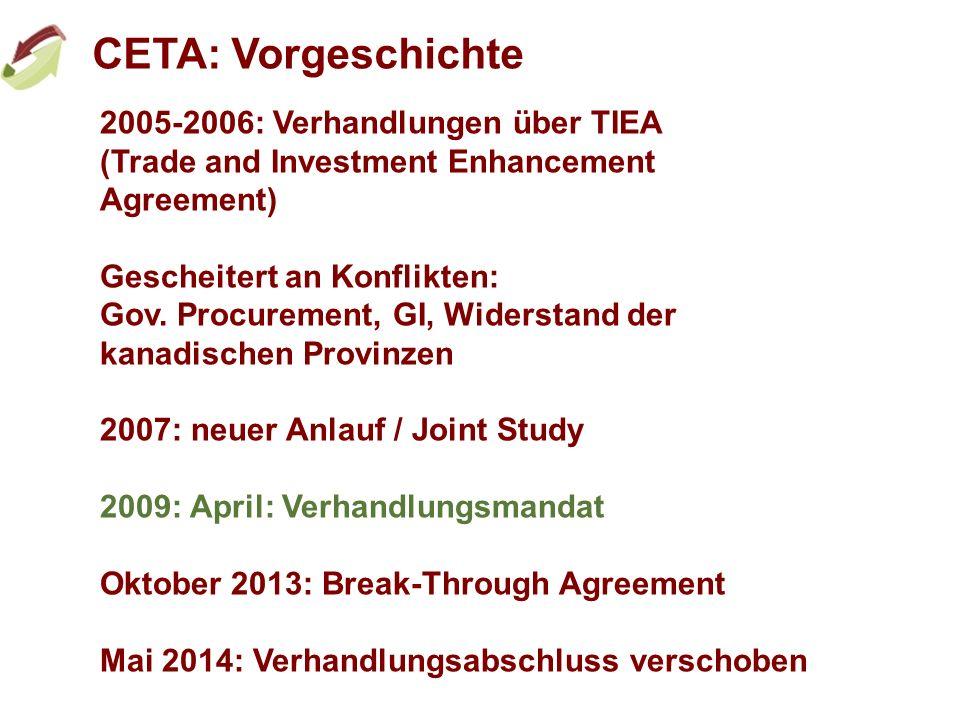 CETA: Vorgeschichte 2005-2006: Verhandlungen über TIEA (Trade and Investment Enhancement Agreement) Gescheitert an Konflikten: Gov. Procurement, GI, W