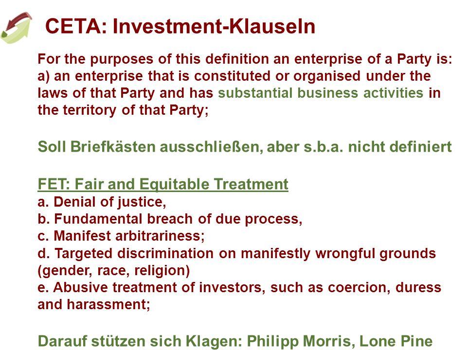 CETA: Investment-Klauseln 4.