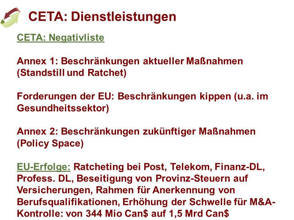 CETA: Dienstleistungen CETA: Negativliste Annex 1: Beschränkungen aktueller Maßnahmen (Standstill und Ratchet) Forderungen der EU: Beschränkungen kipp