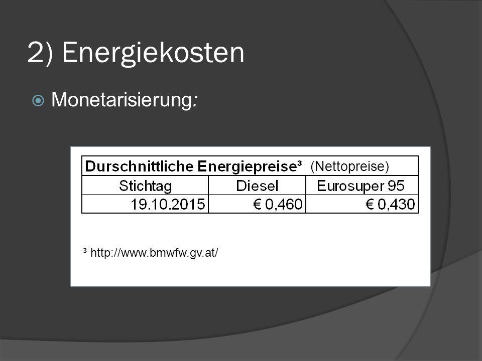 ³ http://www.bmwfw.gv.at/ (Nettopreise)  Monetarisierung: 2) Energiekosten