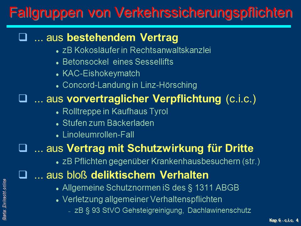 Barta: Zivilrecht online Kap 6 - c.i.c. 4 Fallgruppen von Verkehrssicherungspflichten q...