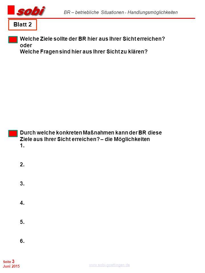 BR – betriebliche Situationen - Handlungsmöglichkeiten www.sobi-goettingen.de Seite 3 Juni 2015 Blatt 2 Welche Ziele sollte der BR hier aus Ihrer Sich