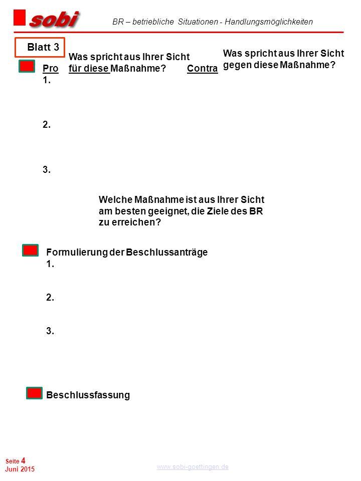 BR – betriebliche Situationen - Handlungsmöglichkeiten www.sobi-goettingen.de Seite 4 Juni 2015 Blatt 3 ProContra 1. 2. 3. Formulierung der Beschlussa
