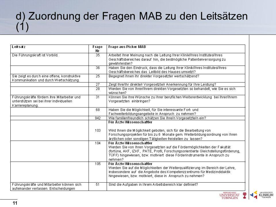 11 d) Zuordnung der Fragen MAB zu den Leitsätzen (1)
