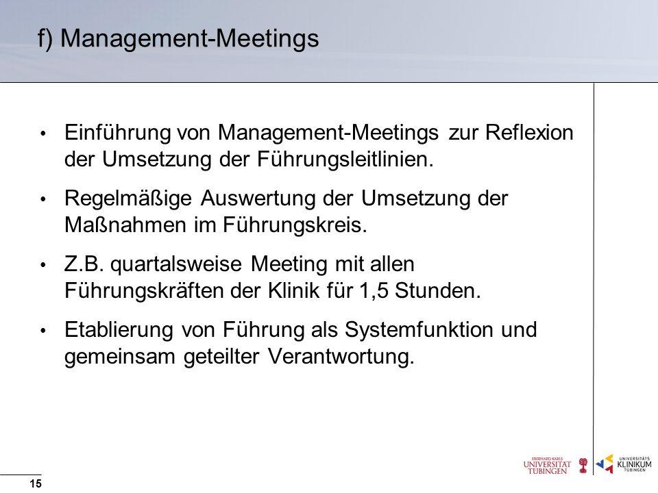 f) Management-Meetings Einführung von Management-Meetings zur Reflexion der Umsetzung der Führungsleitlinien. Regelmäßige Auswertung der Umsetzung der
