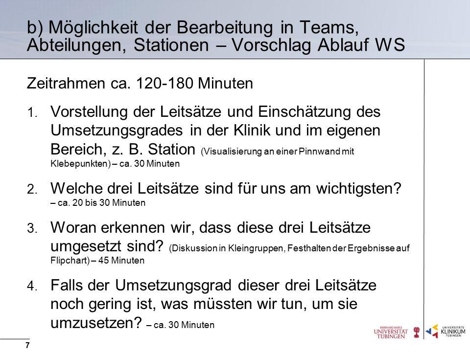 b) Möglichkeit der Bearbeitung in Teams, Abteilungen, Stationen – Vorschlag Ablauf WS Zeitrahmen ca. 120-180 Minuten 1. Vorstellung der Leitsätze und
