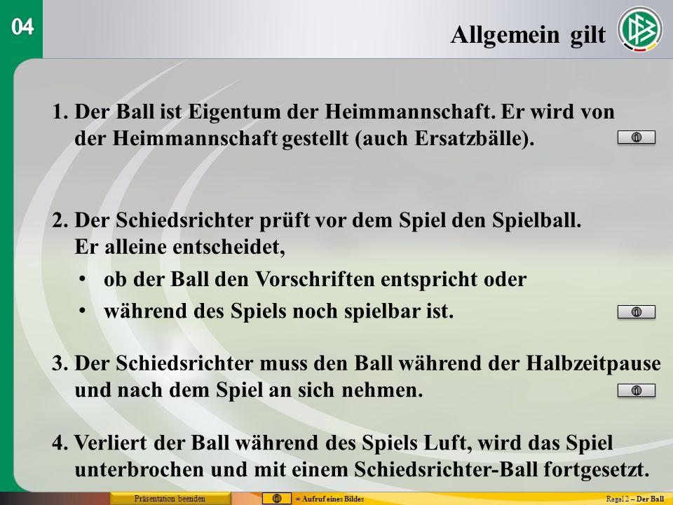 Allgemein gilt Regel 2 – Der Ball 1. Der Ball ist Eigentum der Heimmannschaft. Er wird von der Heimmannschaft gestellt (auch Ersatzbälle). 2. Der Schi