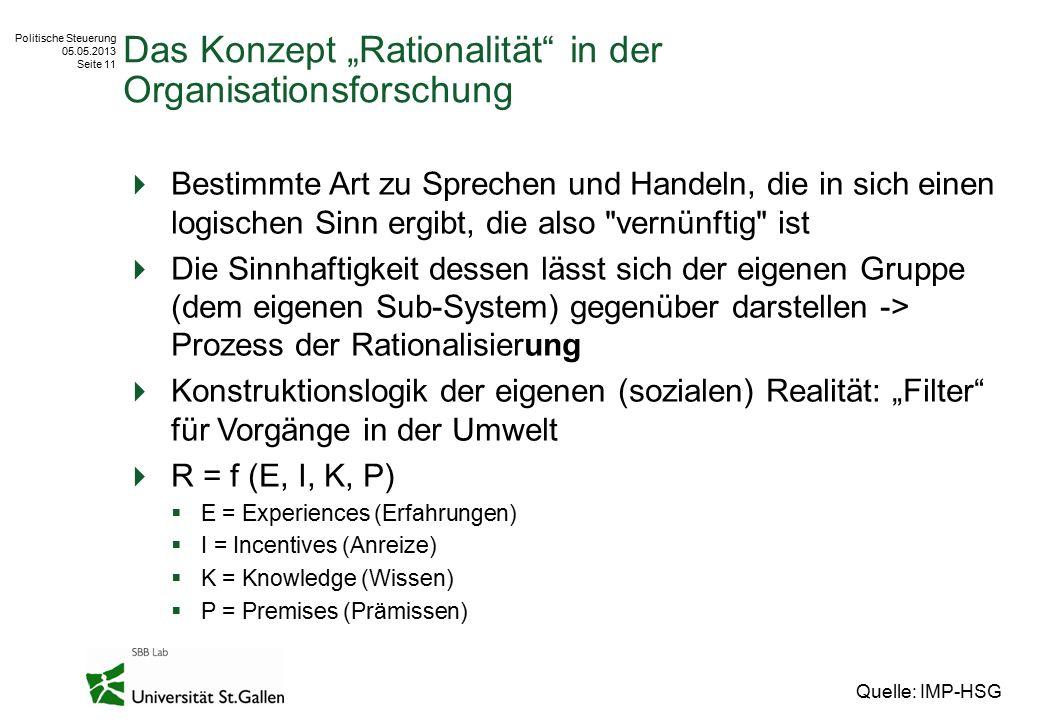 """Politische Steuerung 05.05.2013 Seite 11 Das Konzept """"Rationalität"""" in der Organisationsforschung  Bestimmte Art zu Sprechen und Handeln, die in sich"""