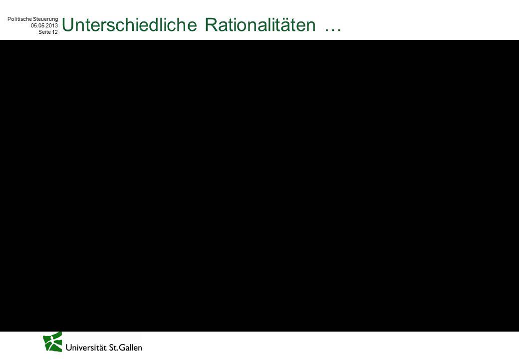 Politische Steuerung 05.05.2013 Seite 12 Unterschiedliche Rationalitäten …