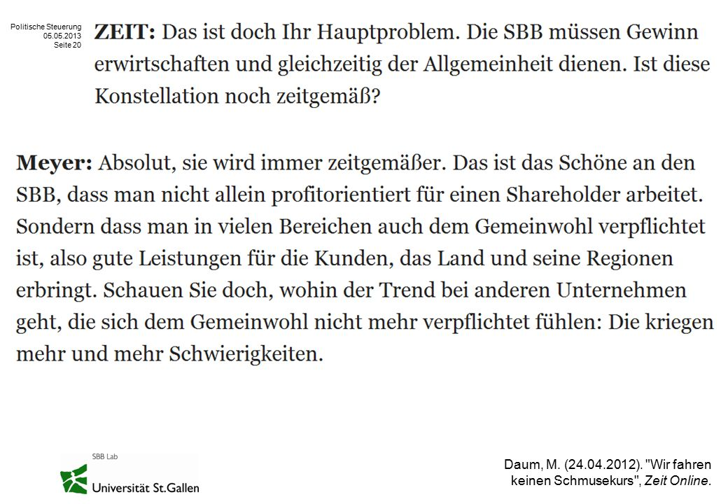 Politische Steuerung 05.05.2013 Seite 20 Daum, M. (24.04.2012).