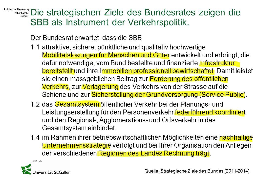 Politische Steuerung 05.05.2013 Seite 7 Die strategischen Ziele des Bundesrates zeigen die SBB als Instrument der Verkehrspolitik. Quelle: Strategisch