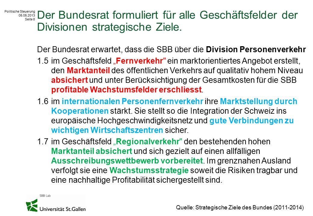 Politische Steuerung 05.05.2013 Seite 8 Der Bundesrat formuliert für alle Geschäftsfelder der Divisionen strategische Ziele. Der Bundesrat erwartet, d