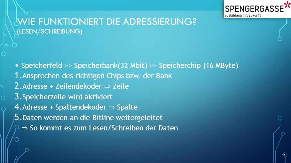 WIE FUNKTIONIERT DIE ADRESSIERUNG? (LESEN/SCHREIBUNG) Speicherfeld >> Speicherbank(32 Mbit) >> Speicherchip (16 MByte) 1. Ansprechen des richtigen Chi