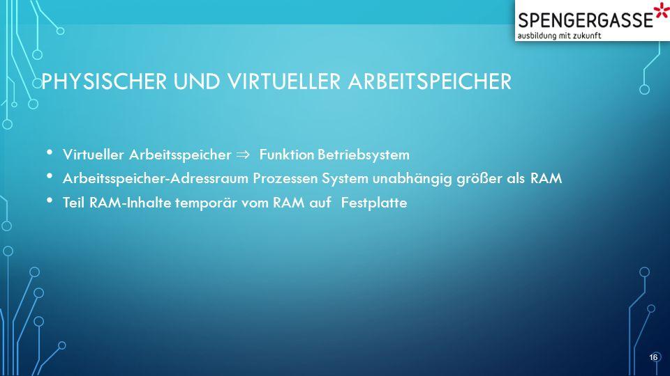 PHYSISCHER UND VIRTUELLER ARBEITSPEICHER Virtueller Arbeitsspeicher ⇒ Funktion Betriebsystem Arbeitsspeicher-Adressraum Prozessen System unabhängig gr