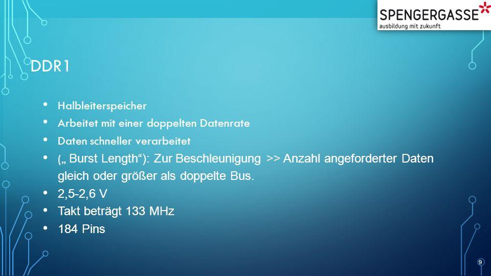 """DDR1 Halbleiterspeicher Arbeitet mit einer doppelten Datenrate Daten schneller verarbeitet ("""" Burst Length ): Zur Beschleunigung >> Anzahl angeforderter Daten gleich oder größer als doppelte Bus."""