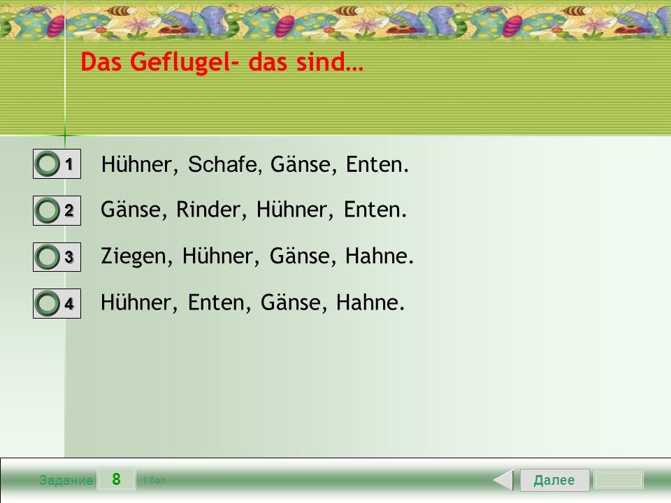 Далее 8 Задание 1 бал. 1111 2222 3333 4444 Das Geflugel- das sind… Hühner, Schafe, Gänse, Enten.