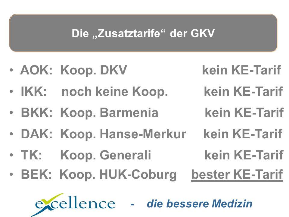 - die bessere Medizin AOK: Koop. DKV kein KE-Tarif IKK: noch keine Koop.