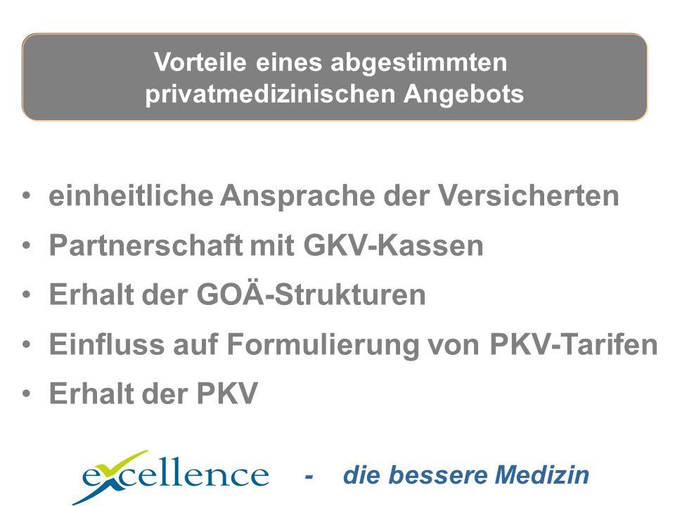 - die bessere Medizin einheitliche Ansprache der Versicherten Partnerschaft mit GKV-Kassen Erhalt der GOÄ-Strukturen Einfluss auf Formulierung von PKV-Tarifen Erhalt der PKV Vorteile eines abgestimmten privatmedizinischen Angebots