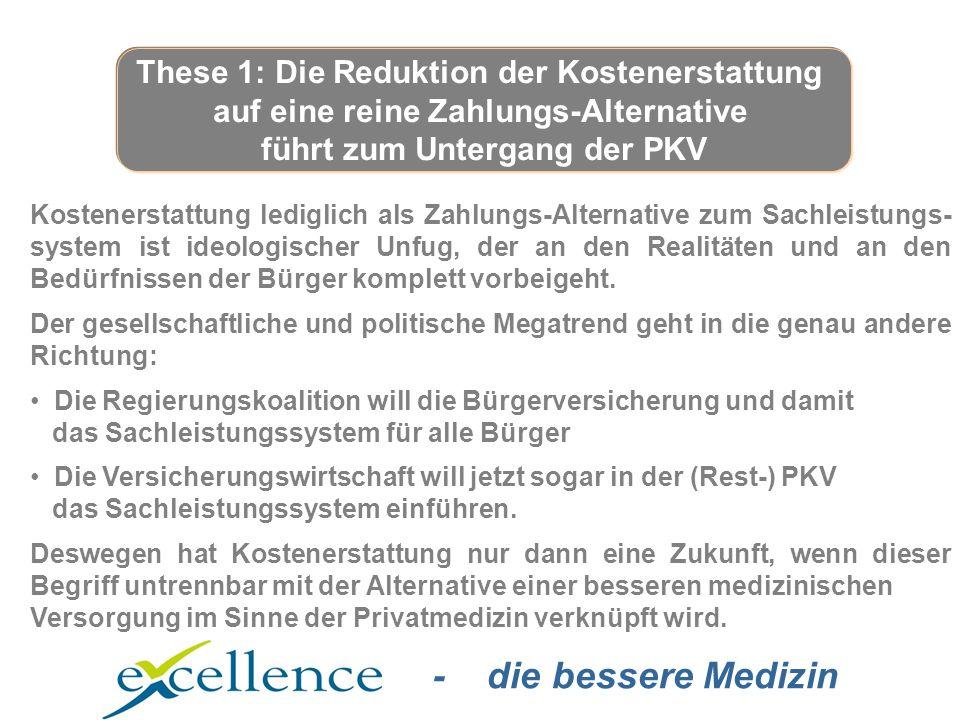 - die bessere Medizin Kostenerstattung lediglich als Zahlungs-Alternative zum Sachleistungs- system ist ideologischer Unfug, der an den Realitäten und an den Bedürfnissen der Bürger komplett vorbeigeht.