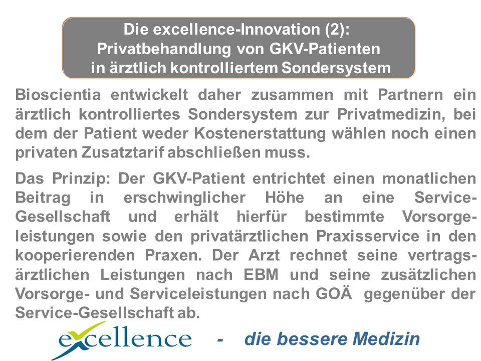 - die bessere Medizin Bioscientia entwickelt daher zusammen mit Partnern ein ärztlich kontrolliertes Sondersystem zur Privatmedizin, bei dem der Patient weder Kostenerstattung wählen noch einen privaten Zusatztarif abschließen muss.