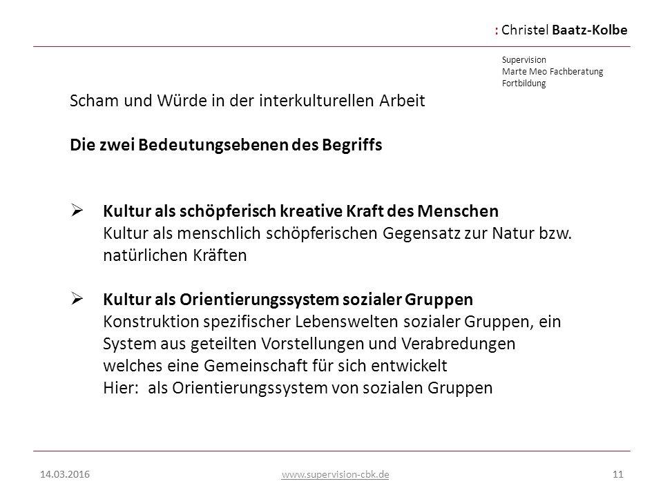 :Christel Baatz-Kolbe Supervision Marte Meo Fachberatung Fortbildung www.supervision-cbk.de 14.03.201611 Scham und Würde in der interkulturellen Arbei