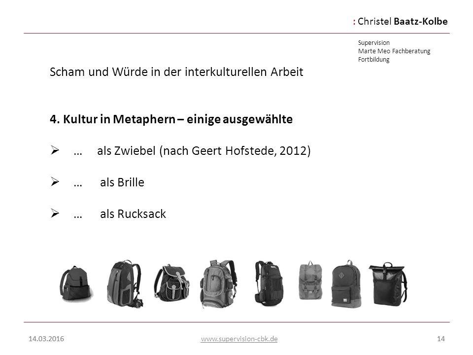 :Christel Baatz-Kolbe Supervision Marte Meo Fachberatung Fortbildung www.supervision-cbk.de 14.03.201614 Scham und Würde in der interkulturellen Arbei