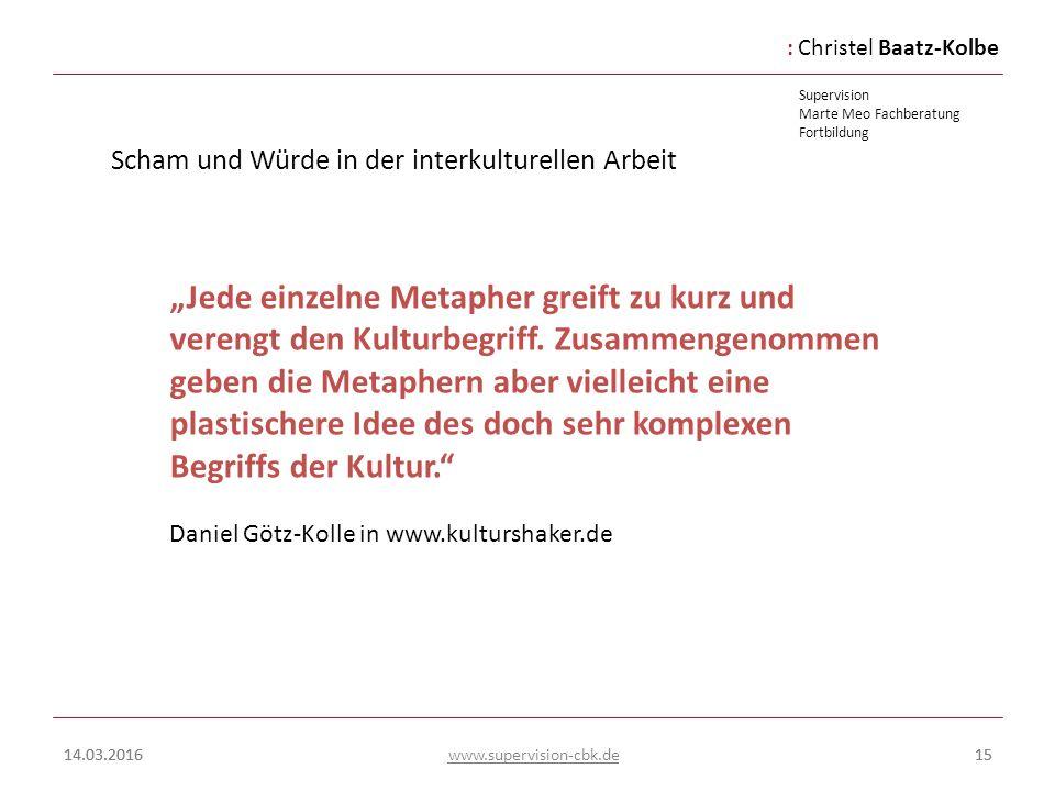 :Christel Baatz-Kolbe Supervision Marte Meo Fachberatung Fortbildung www.supervision-cbk.de 14.03.201615 Scham und Würde in der interkulturellen Arbei