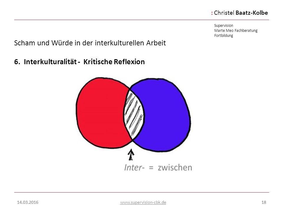 :Christel Baatz-Kolbe Supervision Marte Meo Fachberatung Fortbildung www.supervision-cbk.de 14.03.201618 Scham und Würde in der interkulturellen Arbei
