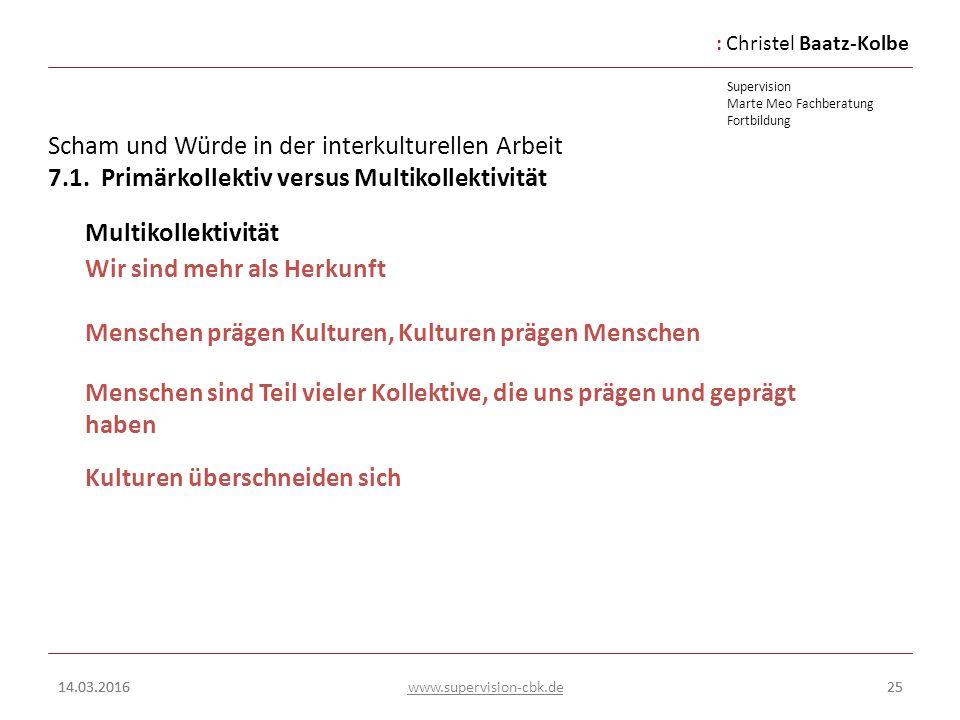 :Christel Baatz-Kolbe Supervision Marte Meo Fachberatung Fortbildung www.supervision-cbk.de 14.03.201625 Scham und Würde in der interkulturellen Arbei