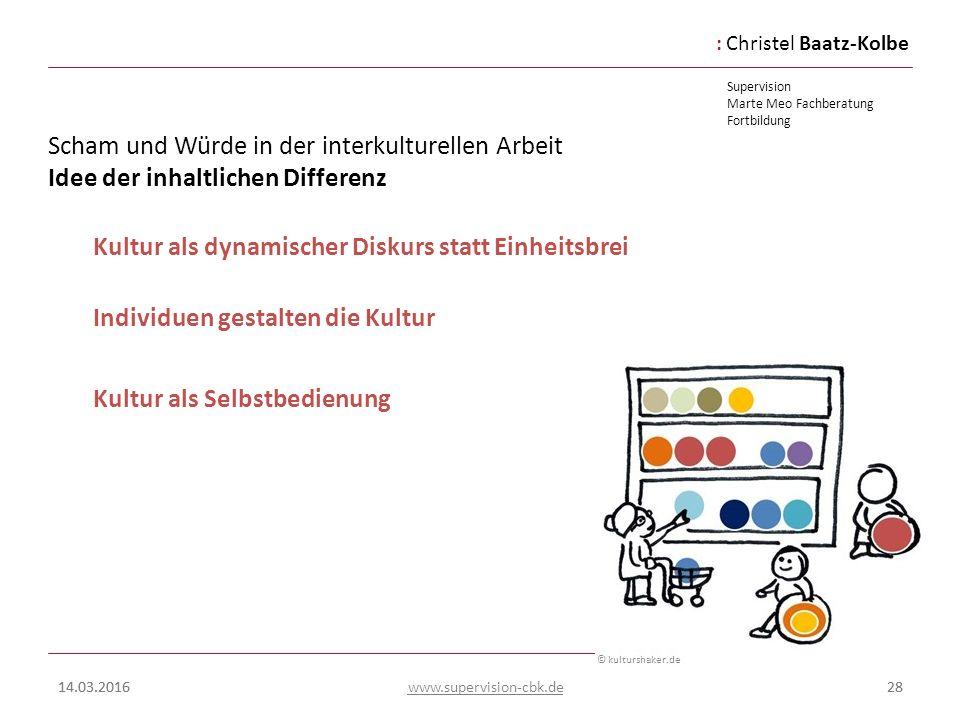 :Christel Baatz-Kolbe Supervision Marte Meo Fachberatung Fortbildung www.supervision-cbk.de 14.03.201628 Scham und Würde in der interkulturellen Arbei