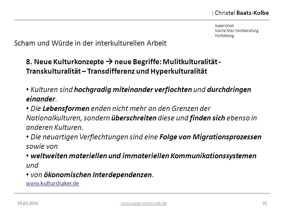 :Christel Baatz-Kolbe Supervision Marte Meo Fachberatung Fortbildung www.supervision-cbk.de 14.03.201631 Scham und Würde in der interkulturellen Arbei