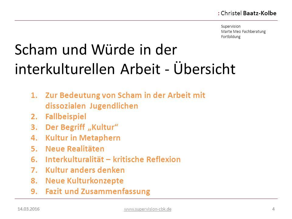 :Christel Baatz-Kolbe Supervision Marte Meo Fachberatung Fortbildung www.supervision-cbk.de 14.03.20164 Scham und Würde in der interkulturellen Arbeit