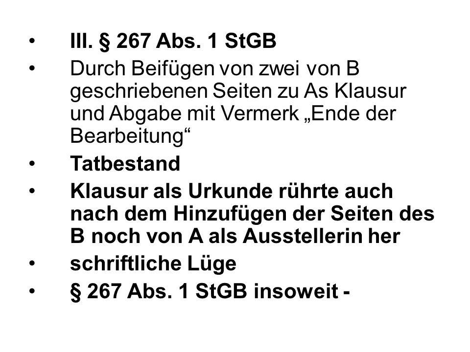 III. § 267 Abs.