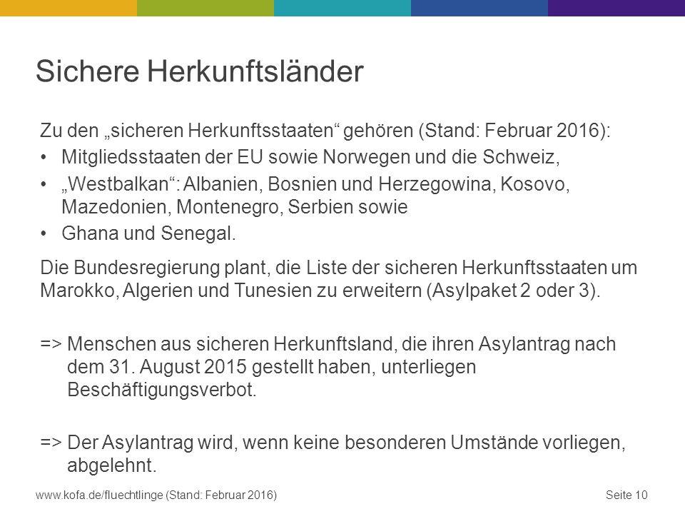 """Sichere Herkunftsländer Zu den """"sicheren Herkunftsstaaten gehören (Stand: Februar 2016): Mitgliedsstaaten der EU sowie Norwegen und die Schweiz, """"Westbalkan : Albanien, Bosnien und Herzegowina, Kosovo, Mazedonien, Montenegro, Serbien sowie Ghana und Senegal."""