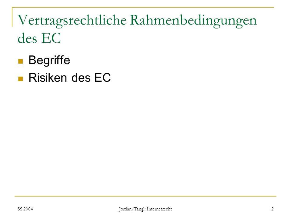 SS 2004 Jordan/Tangl: Internetrecht 2 Vertragsrechtliche Rahmenbedingungen des EC Begriffe Risiken des EC