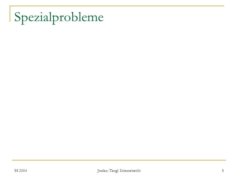 SS 2004 Jordan/Tangl: Internetrecht 8 Spezialprobleme