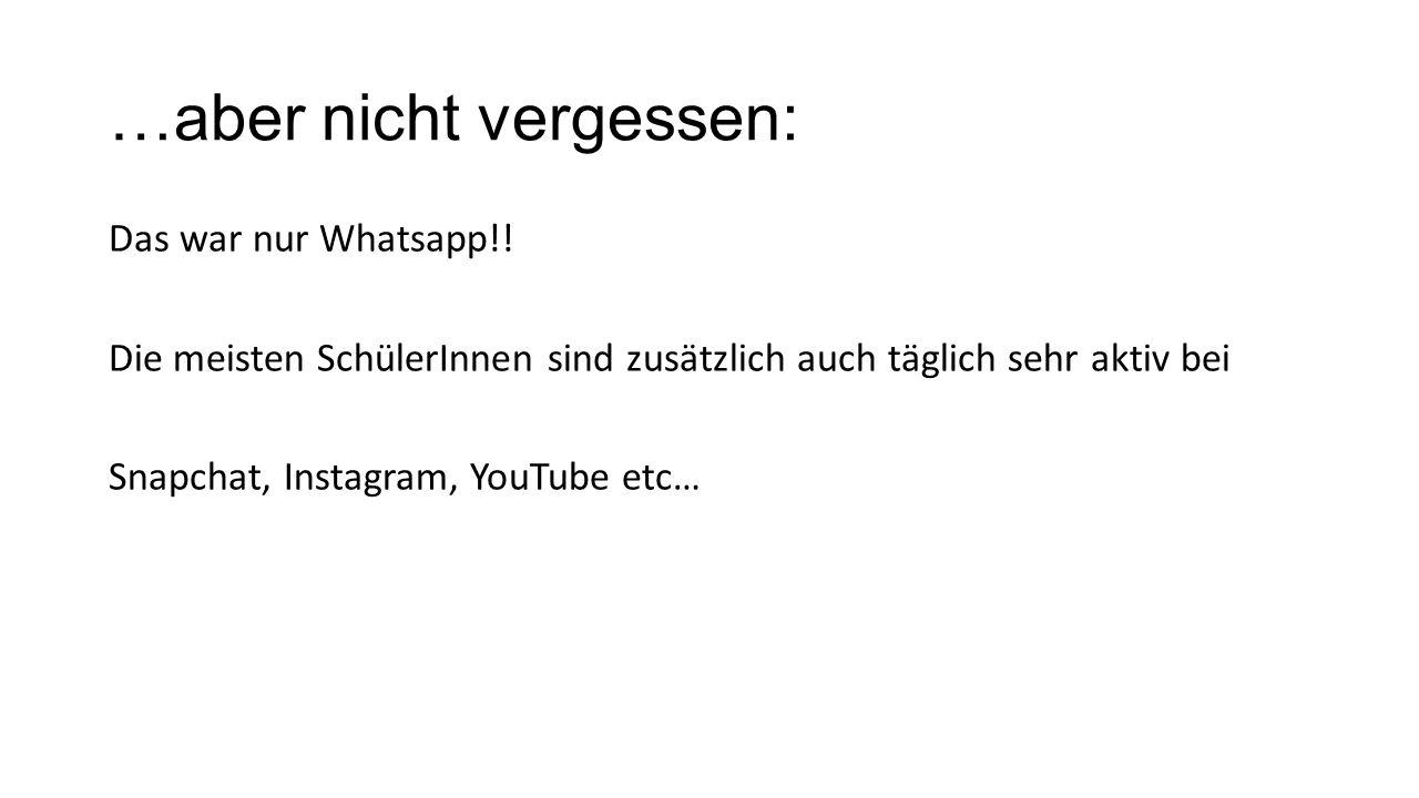 …aber nicht vergessen: Das war nur Whatsapp!.